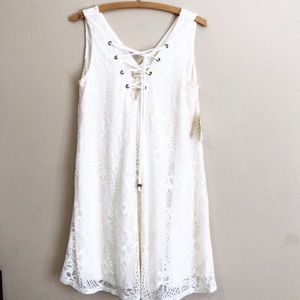 Altar'd State White Lace Shift Dress Lace Up NWT
